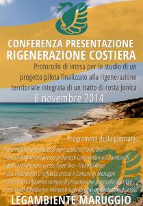 Il 6 Novembre conferenza di presentazione del Protocollo d'Intesa relativo alla Rigenerazione Costiera