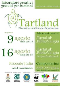 Arrivano domenica 9 e 16 agosto i laboratori creativi gratuiti per bambini, a conclusione del progetto di educazione ambientale-esperenziale TARTLAND