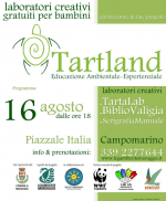 Domenica 16 agosto a Campomarino di Maruggio ultimo laboratorio creativo gratuito per bambini, a conclusione del progetto di educazione ambientale-esperenziale TARTLAND
