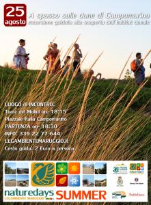 """Martedì – 25 agosto – ultimo appuntamento sulle dune di Campomarino di Maruggio (Ta) per i """"naturedays SUMMER"""" escursioni naturalistiche esperienziali guidate per adulti e bambini!"""