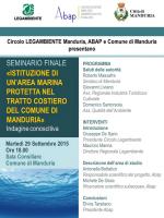 Presentazione martedì 29 settembre a Manduria (Ta) dell'indagine conoscitiva eseguita ai fini dell'istituzione di un'area marina protetta nel tratto costiero del Comune di Manduria