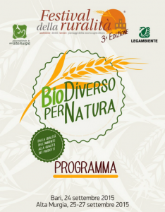 Festival della Ruralità, terza edizione, dal 24 al 27 settembre, dedicata al tema dell'agroalimentare a Bari, Minervino Murge, Cassano delle Murge e Toritto (Ba)