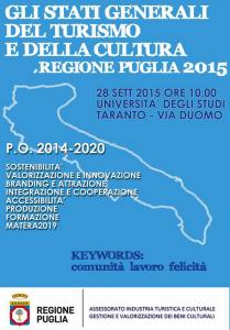 Stati Generali della Cultura e del Turismo, primo appuntamento a Taranto lunedì 28 settembre 2015