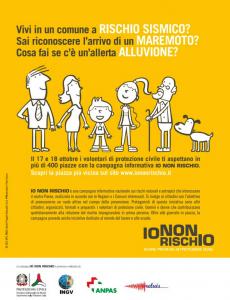 IO NON RISCHIO – Buone pratiche di Protezione Civile, Vi aspettiamo il 17-18 ottobre 2015 in più di 400 piazze Italiane