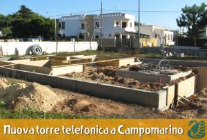 """SOSPESI i lavori per la """"Realizzazione di infrastrutture per impianti di comunicazione elettroniche del gestore Hightel Towel S.p.A. nel Comune di Maruggio (Ta) in località Campomarino"""""""