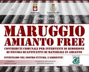MARUGGIO AMIANTO FREE – E' partito in questi giorni, gennaio 2016, il progetto di rimozione e smaltimento di materiali in amianto nell'ambito del Comune di Maruggio