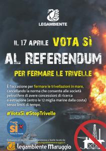 """Difendi il tuo mare! Al referendum del 17 aprile 2016 vota """"sì""""! campagna di sensibilizzazione promossa a livello locale dalla LEGAMBIENTE di Maruggio (Ta)"""