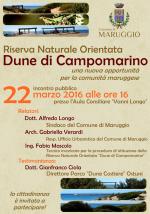 """Presentazione – martedì 22 marzo 2016 – della nuova perimetrazione della nascente Riserva Naturale Orientata """"Dune di Campomarino"""""""