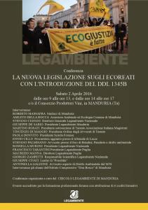 Legge sugli Ecoreati: sabato 2 aprile conferenza della LEGAMBIENTE presso il Consorzio Produttori Vini in Manduria (Ta)
