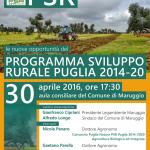 Sabato 30 aprile a Maruggio (Ta) conferenza informativa sul tema: PSR 2014-2020, le nuove opportunità del Programma di Sviluppo Rurale della Regione Puglia