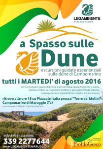 """""""a Spasso sulle Dune"""" escursioni guidate esperienziali sulle dune di Campomarino, tutti i MARTEDI' di agosto 2016 a cura della LEGAMBIENTE di Maruggio (Ta)"""