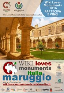 Wiki Loves Monuments Italia: il Comune di Maruggio aderisce al concorso fotografico di Wikipedia, con il patrocinio del Touring Club Italiano e con la collaborazione attiva di Legambiente Maruggio e Confguide Taranto.