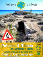 """Ritorna anche quest'anno """"Puliamo il Mondo"""" sulle dune di Campomarino, domenica 25 settembre 2016 a cura dei volontari della Legambiente di Maruggio"""