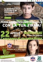 SALVA IL SUOLO, la campagna di raccolta firme approda a Maruggio il 22 aprile 2017 in Piazza del popolo, a cura dei locali circoli ACLI e LEGAMBIENTE