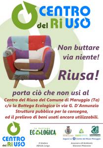 """Nasce il """"Centro del Riuso"""" a Maruggio (Ta), un servizio gratuito per la consegna ed il prelievo di beni usati ancora utilizzabili. Iniziativa in partenariato gratuito con i volontari della Legambiente di Maruggio"""