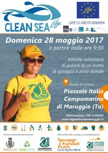 """Per la prima volta a Campomarino di Maruggio: """"CLEAN SEA Life"""" campagna di sensibilizzazione europea sui rifiuti marini; domenica 28 maggio 2017 dalle ore 9.30 a cura dei volontari della LEGAMBIENTE di Maruggio"""