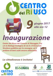 """Si inaugura venerdì 9 giugno 2017, il nuovo """"Centro del Riuso"""" di Maruggio; servizio gratuito per la consegna ed il prelievo di beni usati ancora utilizzabili."""