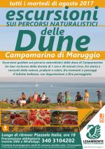 Escursioni esperienziali sui percorsi naturalistici delle dune di Campomarino, tutti i martedì di agosto 2017 a cura dei volontari della Legambiente di Maruggio (Ta)