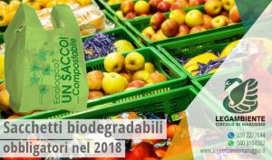 Sacchetti biodegradabili e compostabili obbligatori dal 1° gennaio 2018, pesanti sanzioni per chi non rispetta le nuove norme!