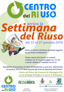 """Arriva la """"Settimana del Riuso"""" a Maruggio (Ta) dal 22 al 27 gennaio 2018 apertura straordinaria del Centro del Riuso Maruggio di via D'Annunzio"""
