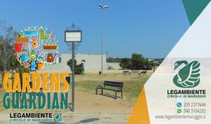 """Parte da piazza Baden-Powell a Maruggio il progetto di cittadinanza attiva denominato: """"GARDENS GUARDIAN"""" trattasi di attività volontaria di cura e manutenzione ordinaria delle aree a verde pubblico comunale, a cura della Legambiente di Maruggio"""