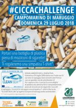 Arriva la campagna di sensibilizzazione #CICCACHALLENGE contro l'abbandono di mozziconi di sigaretta in spiaggia, domenica 29 luglio 2018 a Campomarino di Maruggio (Ta) a cura della Legambiente di Maruggio in collaborazione con CLEAN SEA Life