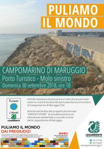 """Ritorna anche quest'anno """"Puliamo il Mondo"""" a Campomarino di Maruggio (Ta), domenica 30 settembre 2018 a partire dalle ore 10 attività di pulizia volontaria presso il molo di levante del porto turistico-peschereccio"""