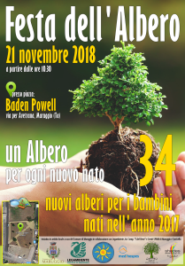 """Festa dell'Albero 2018 – Iniziativa """"Un albero per ogni nuovo nato"""", mercoledì 21 novembre alle ore 10.30 presso il giardino pubblico """"Baden Powell"""" via per Avetrana a Maruggio (Ta)"""