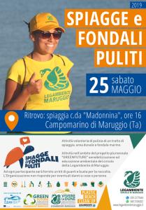 """Partecipa anche tu! sabato 25 maggio 2019 a Campomarino di Maruggio (Ta) campagna di volontariato ambientale con l'iniziativa nazionale """"Spiagge e Fondali Puliti"""" a cura dell'APS Legambiente di Maruggio"""