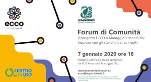 Primo Forum di Comunità del Ri-Hub Maruggio per il progetto ECCO, Economie Circolari di COmunità.Legambiente e Ministero del Lavoro e delle Politiche sociali insieme per un progetto dedicato a diffondere l'economia circolare.
