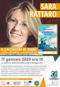"""La scrittrice SARA RATTATO a Maruggio il 17 gennaio 2020 presso l'Istituto Comprensivo """"T. Del Bene"""", presenterà ai ragazzi il suo libro: """"Il cacciatore di sogni"""" vincitore del Premio nazionale """"Un libro per l'Ambiente"""" 2019."""