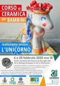 """Corso di ceramica per bambini: """"Realizziamo insieme l'Unicorno"""" – laboratoro didattico-creativo a cura dell'APS Legambiente Maruggio presso il Centro del Riuso comunale, in collaborazione con l'Associazione Culturale Eudemonia."""