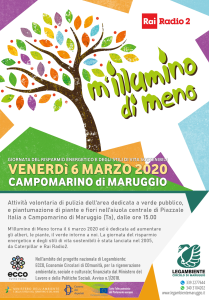 M'illumino di Meno 2020 a Campomarino di Maruggio (Ta) venerdì 6 marzo a partire dalle ore 15, con la pulizia e piantumazione di piante e fiori presso il Piazzale Italia, a cura dell'APS Legambiente Maruggio