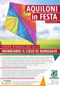 AQUILONI in FESTA -terza edizione- venerdì 1 maggio 2020 alle ore 15, inondiamo dalle nostre case il cielo di Maruggio con tanti aquiloni colorati. Iniziativa proposta dall'APS Legambiente Maruggio.