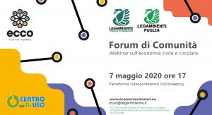 Secondo Forum di Comunità del Ri-Hub Maruggio per il progetto ECCO, Economie Circolari di COmunità.Legambiente e Ministero del Lavoro e delle Politiche sociali insieme per un progetto dedicato a diffondere l'economia circolare.