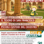 """Visite guidate animate per BAMBINI gratuite: """"alla scoperta del chiostro"""" – 13 e 20 agosto 2020 presso il chiostro dell'ex Convento di Maruggio, nell'ambito del progetto pluriennale ARTE&NATURA a cura dell'APS Legambiente Maruggio."""