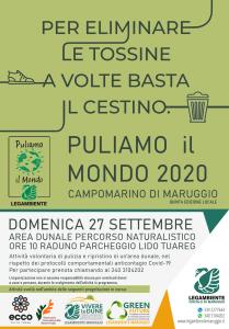 """Ritorna anche quest'anno """"Puliamo il Mondo"""" a Campomarino di Maruggio (Ta), quinta edizione locale domenica 27 settembre 2020 a partire dalle ore 10 attività di pulizia volontaria presso l'area dunale del percorso naturalistico."""
