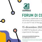 Quinto FORUM DI COMUNITA' del Ri-Hub Maruggio per il progetto ECCO, Economie Circolari di COmunità.Legambiente e Ministero del Lavoro e delle Politiche sociali insieme per un progetto dedicato a diffondere l'economia circolare.