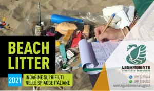 Si è svolto il BEACH LITTER 2021: quinta indagine e monitoraggio sui rifiuti spiaggiati a Campomarino di Maruggio, a cura dei volontari dell'APS Legambiente di Maruggio