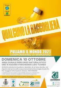 """Ritorna anche quest'anno """"Puliamo il Mondo"""" a Campomarino di Maruggio (Ta), sesta edizione locale domenica 10 ottobre 2021 a partire dalle ore 10 attività di pulizia volontaria presso l'area dunale del percorso naturalistico."""